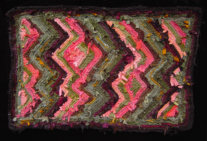 42 Peach & Green Diagonal Stripes Rag Rug