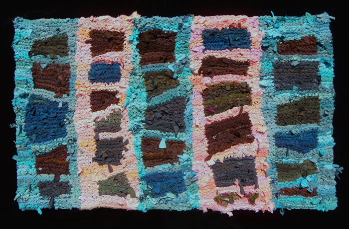 54 Pink & Green Ladder Rag Rug
