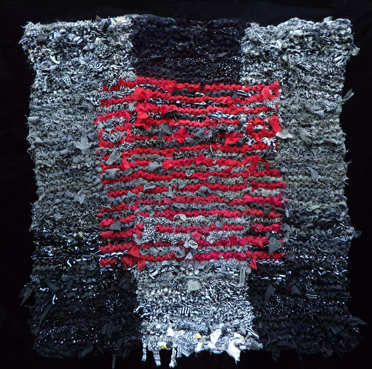 67 Black & White & Red Floating Square Rag Rug