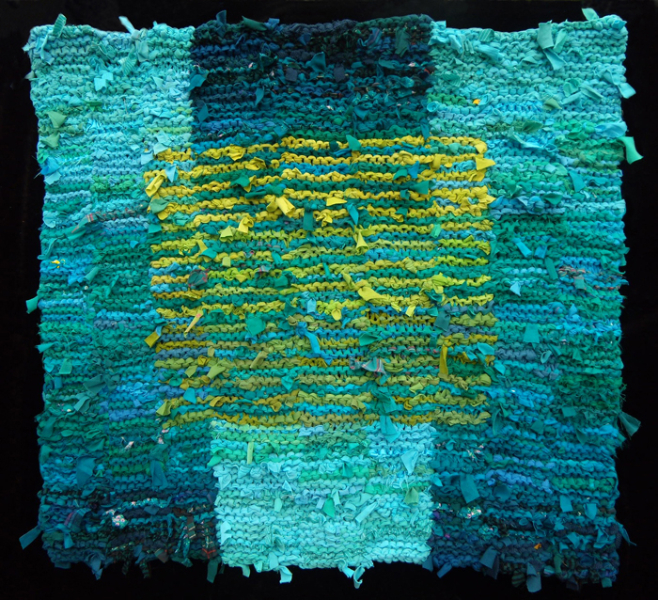 68 Teal Olive Floating Square Rag Rug