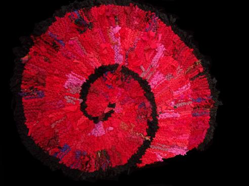 72 Red Nautilus Rag Rug