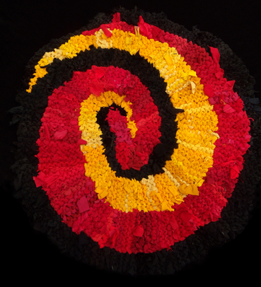 75 Red Gold Spiral Rag Rug