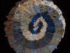 65 Blue & Brown Spiral Rag Rug