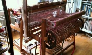 Newcomb Studio Art Rug Loom, warp beam view