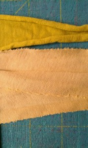 Detail picture of two kinds of knit fabric
