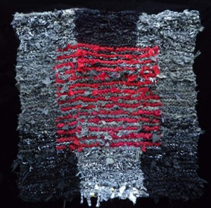 Black and White and Red Floating Square Rag Rug