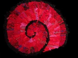 Red Nautilus Spiral Rag Rug