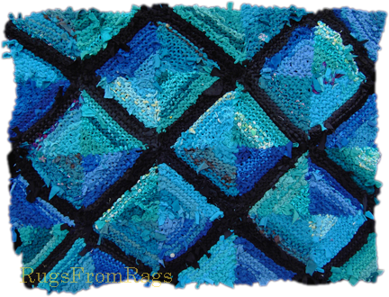 Teal Log Cabin hand knit rag rug