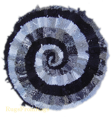 Black and White and Gray Spiral hand knit rag rug