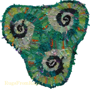 Green (Lime) Triple Spiral (Triskele) hand knit rag rug (sold)