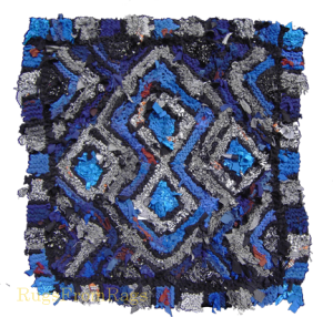 Black and White and Blue Log Cabin hand knit rag rug