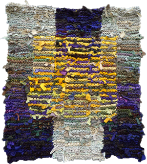 Floating Gold Square hand knit rag rug
