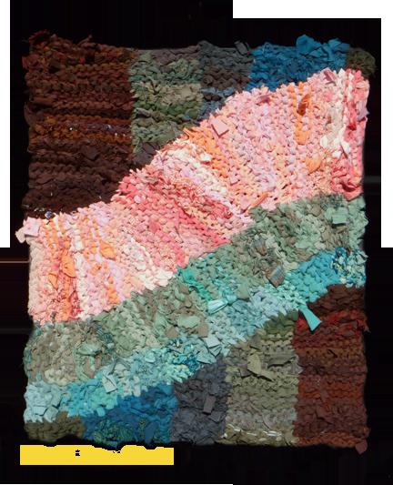 Alt: pink swish hand knit rag rug