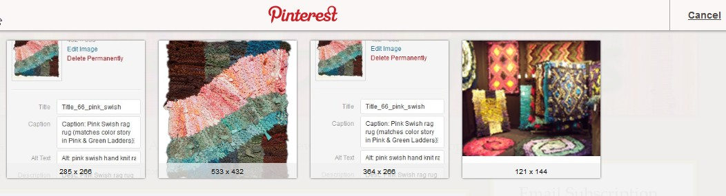 Images selected by PinIt Bookmarklet.