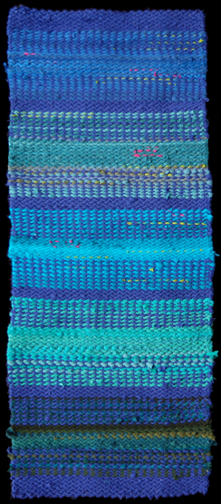 Seascape Rag Rug, woven from cotton curtains, #recycled t shirts, and other abandoned textiles.