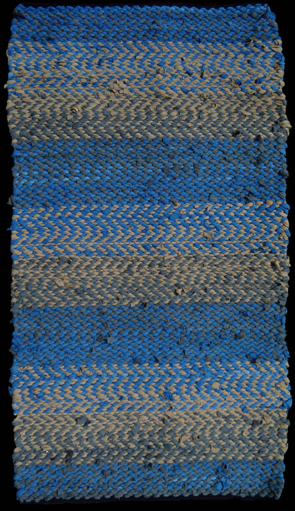 TSD Blue and Beige. Hand woven in 2/2 twill from post-production factory scrap. $595.