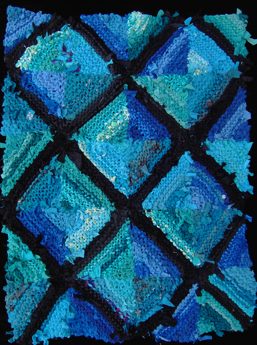 Teal, Turquoise, & Royal log cabin #rug, www.rugsfromrags.... Sold.
