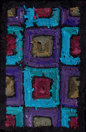 "890.00 Purple Turquoise Olive Ruby hand knit rug, 52"" x 34""; $890. Made from recycled t shirts and other abandoned textiles. See more rugs at www.rugsfromrags...."