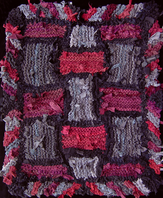 Red and Gray Lattice hand-knit rag rug, made from #recycled t shirts. Sold. See more at www.rugsfromrags.com