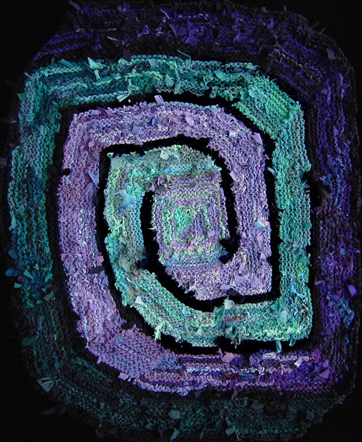 "Purple & Green square #spiral hand knit #rug, 48"" x 46"" (not counting diagonal corners which make the rug an octagon shape), $1350. www.rugsfromrags...."