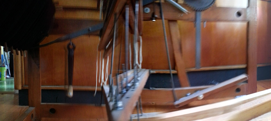 Camera-assembled panorama from the inside-the-loom. The diagonal bar on the left of the picture is a straight line (with a twist), warped by the photograph.