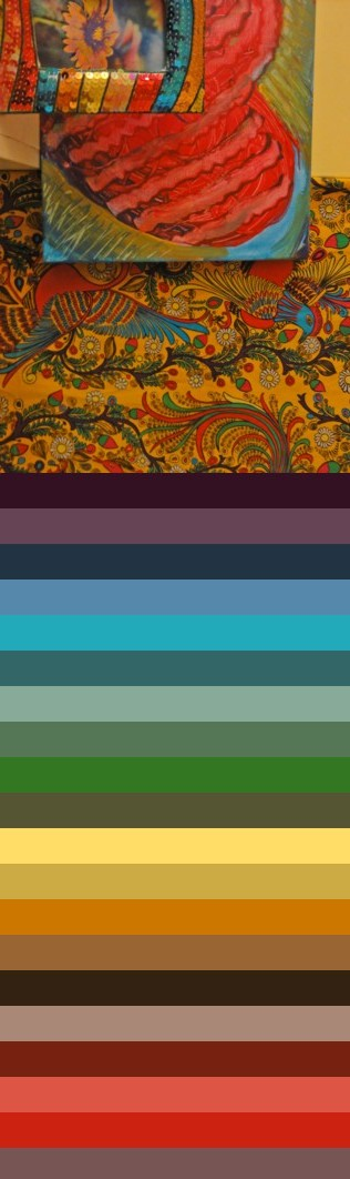 Heart and peacock color chart.