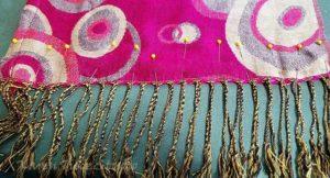 Fringe on a Pasmina shawl.