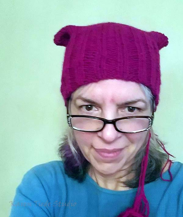 First pussyhat; ends not yet darned in.