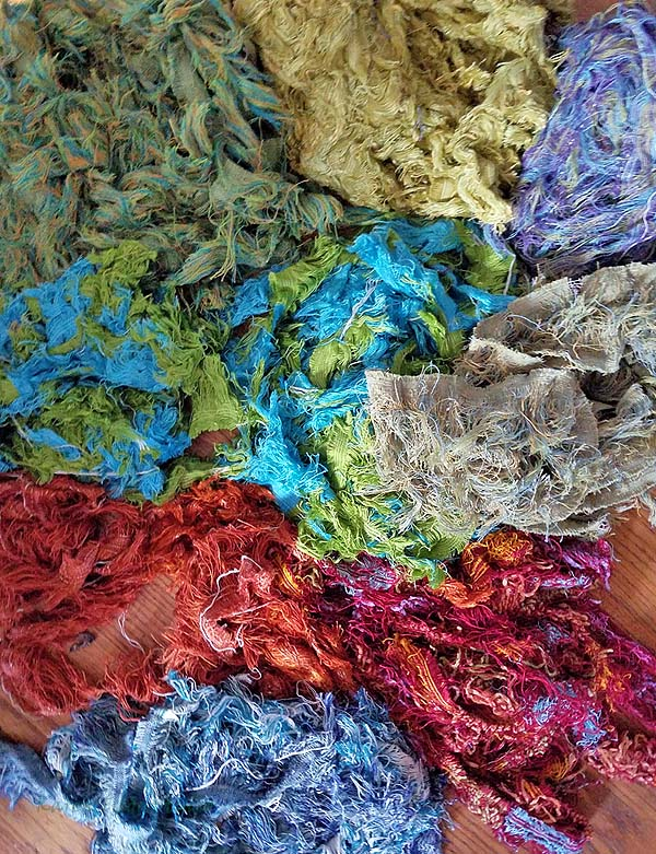 Mixed color selvage, trimmed from upholstery in furniture factories.