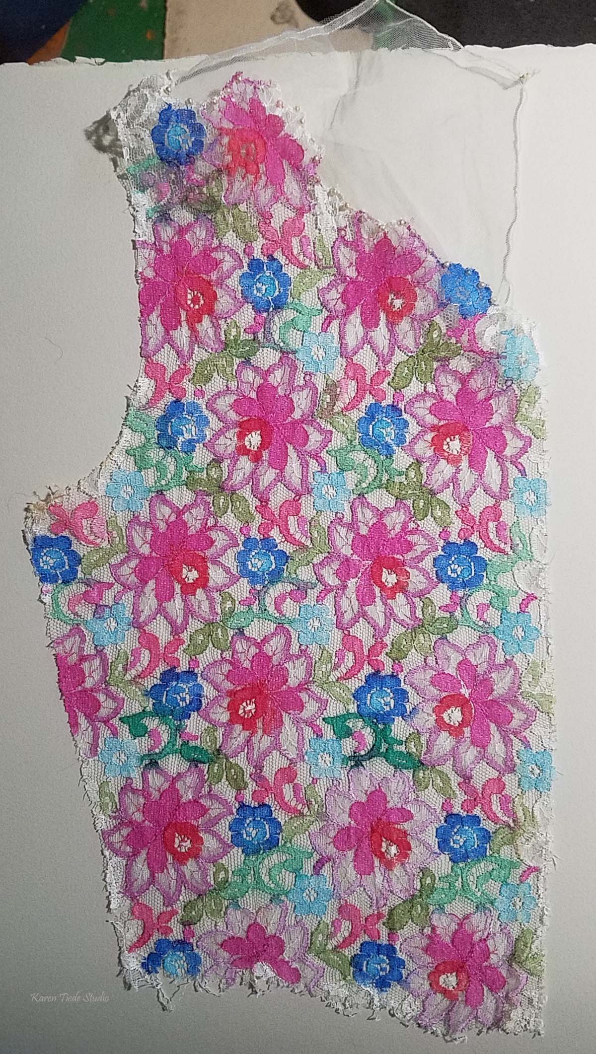 First test of painted lace, against watercolor paper.